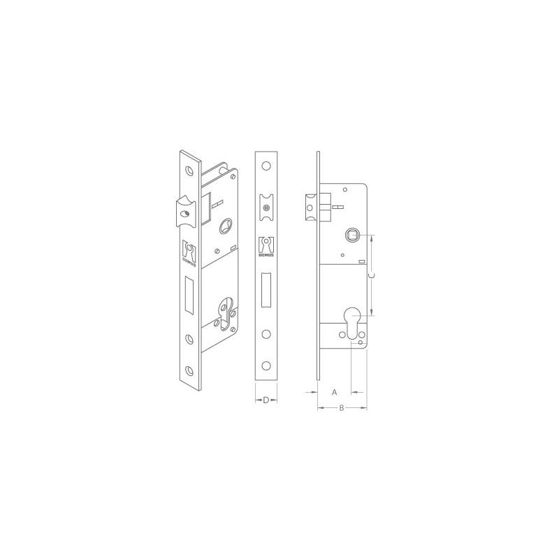 Domus Lock Cylinder For Aluminum Doors 30 35mm